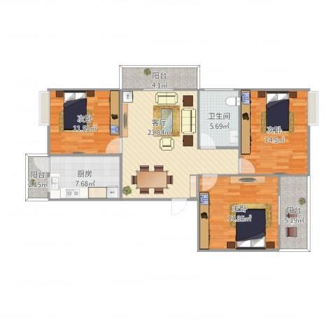 公园30003室1厅1卫1厨121.00㎡户型图