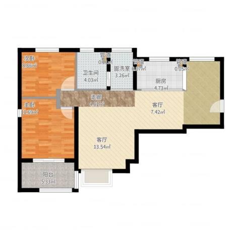 绿地香颂公寓2室2厅3卫2厨104.00㎡户型图