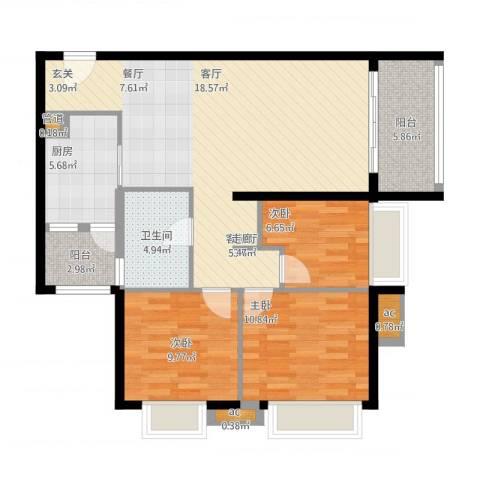 富庄庭3室1厅1卫1厨117.00㎡户型图