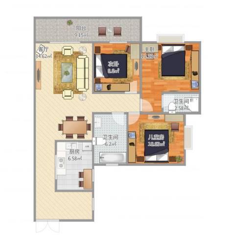 江南华都3室1厅2卫1厨123.00㎡户型图