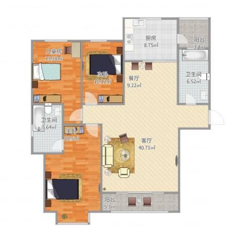 紫润芳庭3室1厅2卫1厨151.00㎡户型图