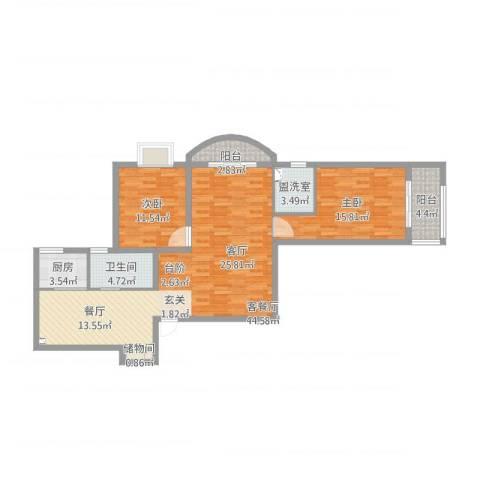 强生花苑201602032室2厅1卫1厨130.00㎡户型图