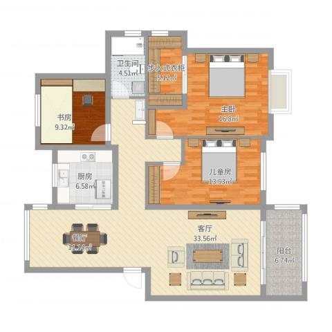 瑞园小区24-1-2013室1厅1卫1厨153.00㎡户型图