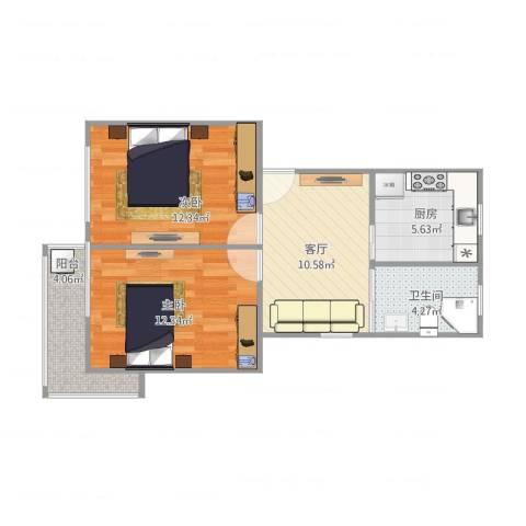 祁南二村2室1厅1卫1厨67.00㎡户型图