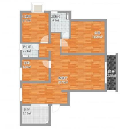 浦江东旭公寓3室1厅2卫1厨113.00㎡户型图