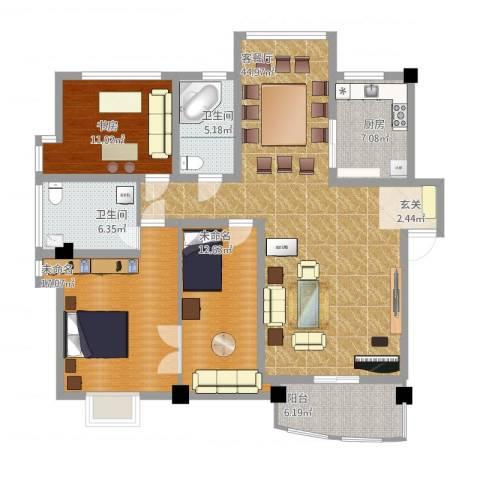 华瑞新城1室1厅2卫1厨125.87㎡户型图