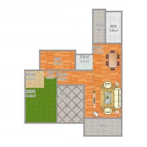 书香门第3室1厅1卫1厨108.00㎡户型图