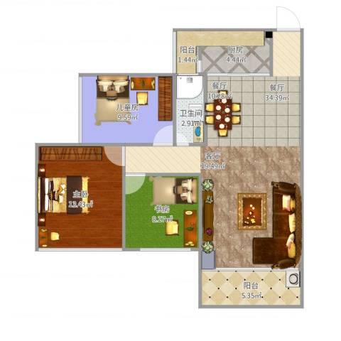 东信华府3室1厅1卫1厨108.00㎡户型图