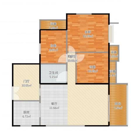 东华・星域3室1厅1卫1厨139.00㎡户型图