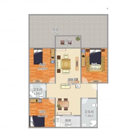 天瑞名城3室1厅2卫1厨177.00㎡户型图