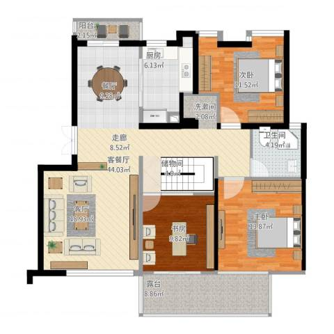 盛大开元3室1厅1卫1厨141.00㎡户型图