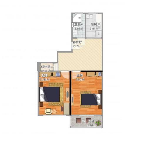 叙丰里2室1厅1卫1厨72.00㎡户型图