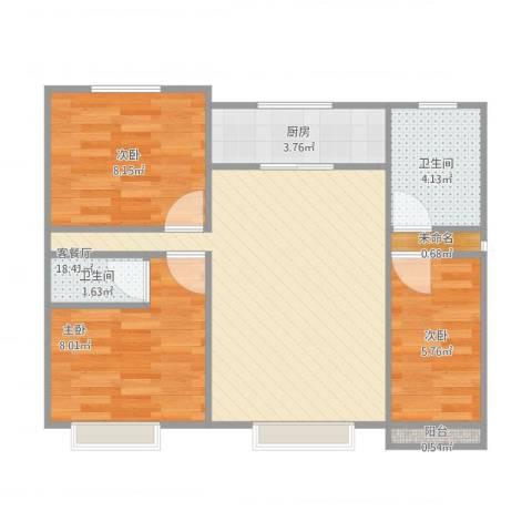 明湖花园3室1厅2卫1厨71.00㎡户型图