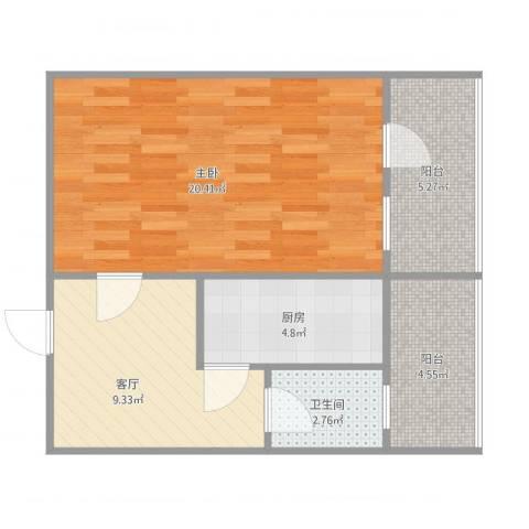 林苑北里1室1厅1卫1厨64.00㎡户型图