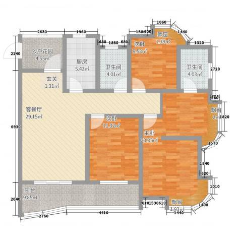 富都豪园3室1厅2卫1厨148.00㎡户型图