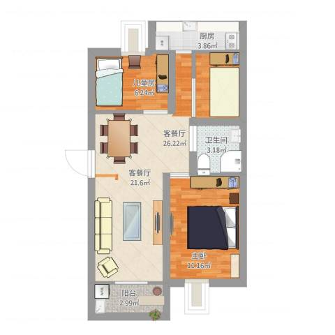 美仁新村2室1厅1卫1厨78.00㎡户型图