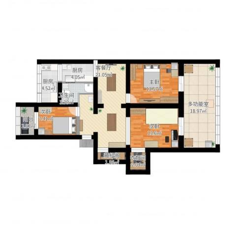 芍药居北里小区3室1厅3卫2厨146.00㎡户型图