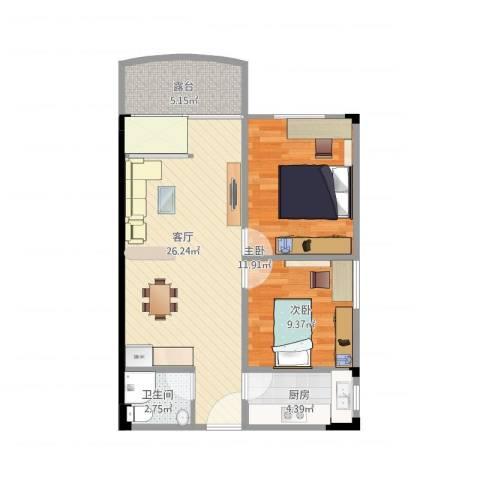 景晖苑2室1厅1卫1厨66.69㎡户型图