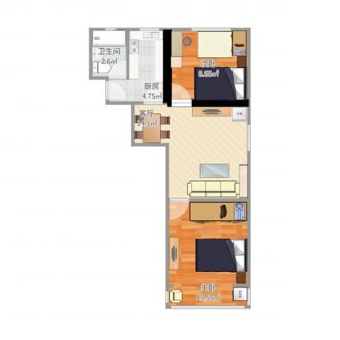 呼玛五村2室1厅1卫1厨48.86㎡户型图