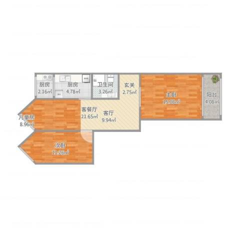 惠新里东西向2室1厅1卫2厨84.00㎡户型图