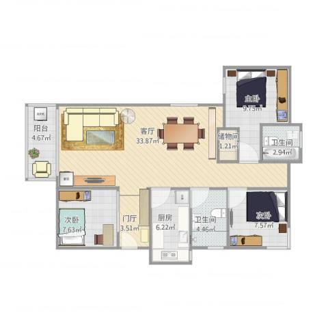 魅力之城3室1厅2卫1厨111.00㎡户型图