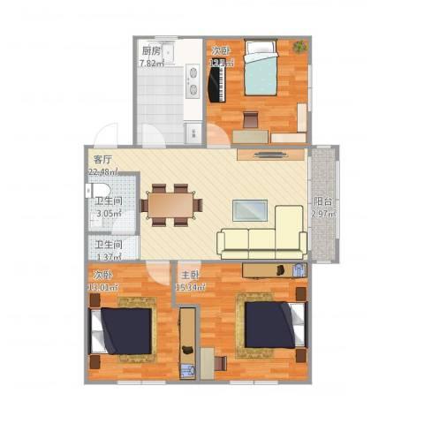 望京西园三区3室1厅2卫1厨105.00㎡户型图