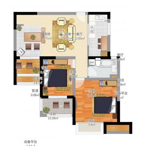 绿地新江桥城2室1厅3卫3厨95.00㎡户型图