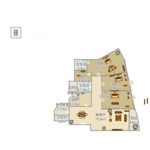 仁恒滨江园4室1厅3卫1厨302.00㎡户型图
