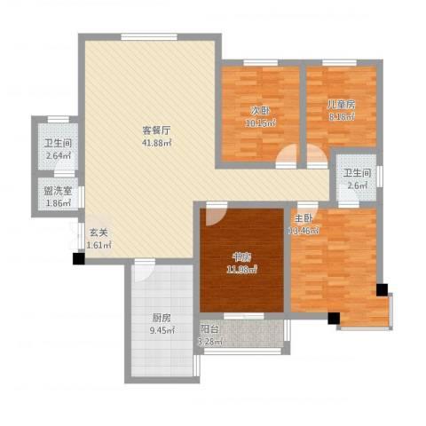 阳光嘉苑4室2厅2卫1厨152.00㎡户型图