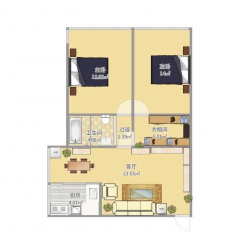铂金汉宫2室1厅1卫1厨91.00㎡户型图
