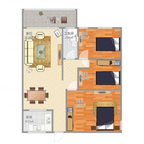 富丽花苑3室1厅1卫1厨99.00㎡户型图