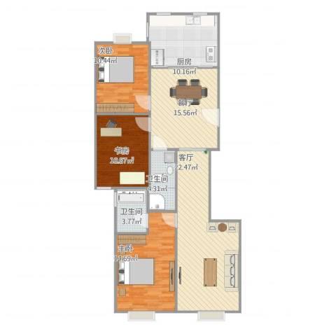 丽阳四季3室2厅2卫1厨124.00㎡户型图