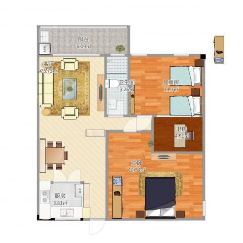富丽花苑3室1厅1卫1厨100.00㎡户型图