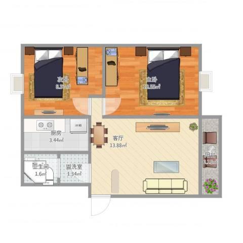宝山星福家园2室2厅1卫1厨57.00㎡户型图