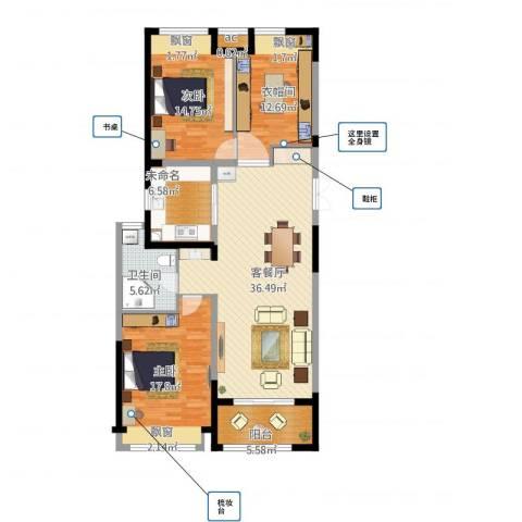 优山美地名邸2室1厅3卫1厨141.00㎡户型图