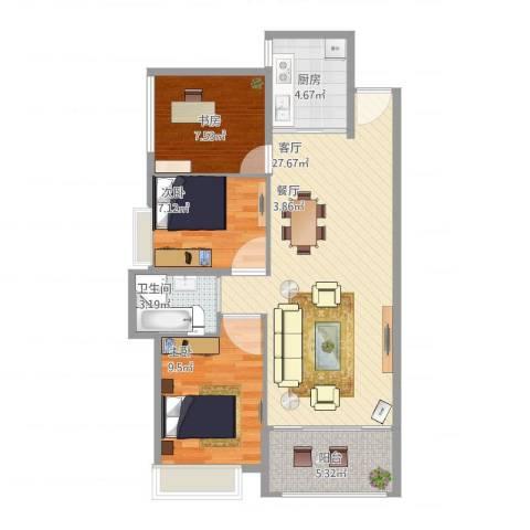 中骏蓝湾香郡3室1厅1卫1厨90.00㎡户型图