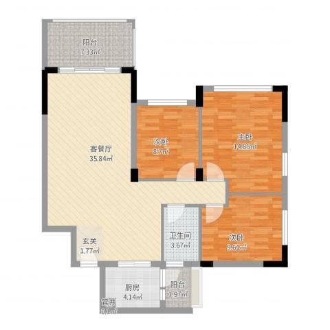 碧桂园荔园别墅3室1厅1卫1厨121.00㎡户型图