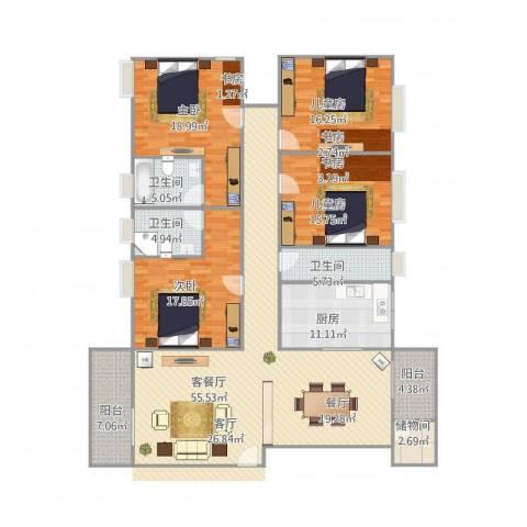 玉兰花园4室1厅3卫1厨221.00㎡户型图