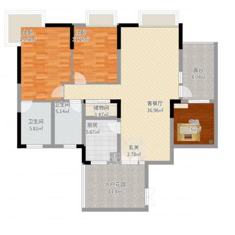 钻石公寓3室1厅2卫1厨157.00㎡户型图
