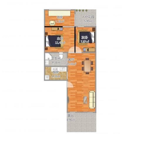 祈福新村C区一层3室1厅1卫1厨81.00㎡户型图