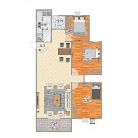 领域・阳光花园3室1厅1卫1厨115.00㎡户型图