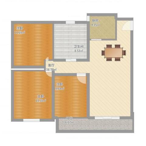 明佳公寓3室1厅1卫1厨124.00㎡户型图