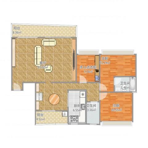 雅居乐雍华廷2室1厅2卫1厨139.00㎡户型图