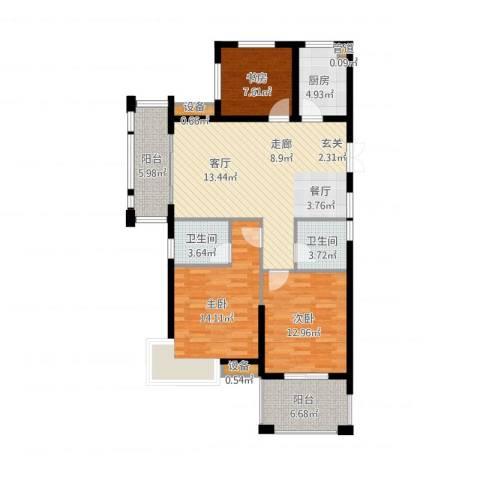 恒鑫文锦苑3室1厅2卫1厨127.00㎡户型图