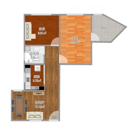 清涧三街坊2室1厅1卫1厨70.00㎡户型图
