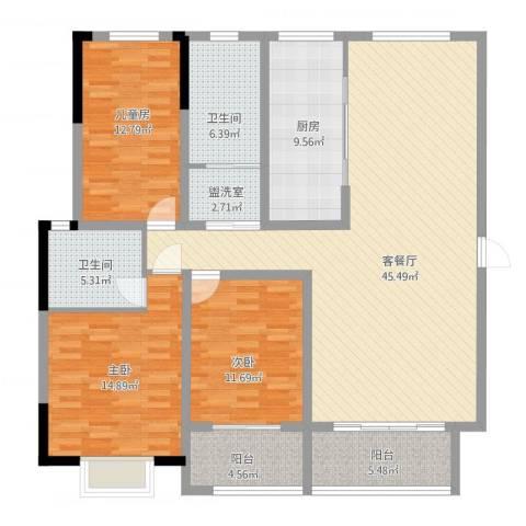 华翔世纪城3室2厅2卫1厨169.00㎡户型图