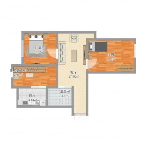 益丰乾城2室1厅1卫1厨80.00㎡户型图
