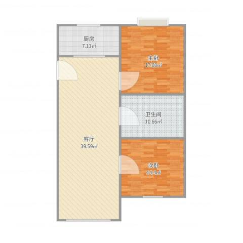 瑞都新城2室1厅1卫1厨118.00㎡户型图