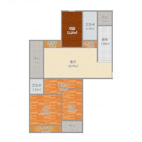 长河花园3室1厅2卫1厨152.00㎡户型图