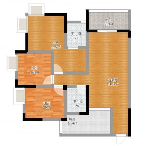 兆甲合阳新城3室1厅2卫1厨128.00㎡户型图